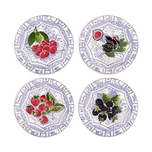 Gien Oiseau Blue Fruits Assorted Canape Plate, Set of 4
