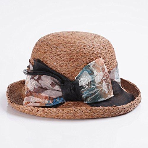 Unbekannt Weiblicher Neuer Sommersonnenhut Hut des Sonnenhutes Raffia-Grasschutzkappe entlang Feiertagsstrandhut ZHAOSHUNLI (Farbe   Dark beige)
