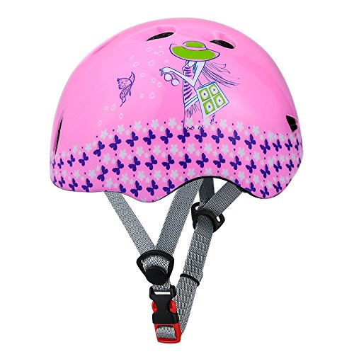KINGBIKE Child Kids Youth Bike Helmet Skateboard Cycling Skate Scooter Roller for Kids 8 -14 Years Age Pink Girls (52-56cm)