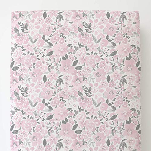 Carousel Designs Pink and Gray Prairie Floral Toddler Bed Sheet Fitted ()