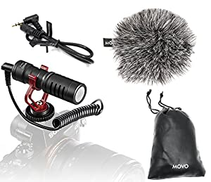 Movo VXR10 Universal Video Microphone with Shock Mount, Deadcat Windscreen, and Case for iPhone/Andoid Smartphones, Canon EOS/Nikon DSLR Cameras and Camcorders
