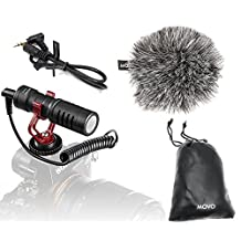 Movo VXR10 Universal Cardioid Condenser Video Microphone with Shock Mount, Deadcat Windscreen, & Case for Smartphones, DSLR Cameras & Camcorders