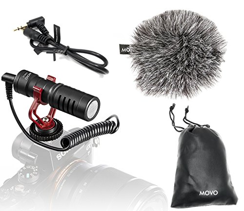 Movo VXR10 Universal Video Microphone with Shock Mount, Deadcat Windscreen, Case for iPhone, Android Smartphones, Canon EOS, Nikon DSLR Cameras and Camcorders (Shock Video)