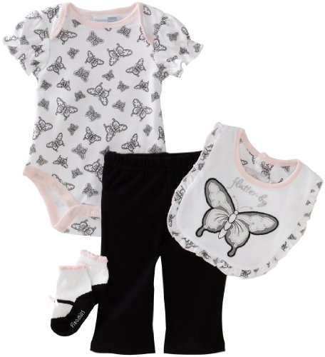 Vitamins Baby-girls Newborn Butterfly 4 Piece Creeper Pant Set