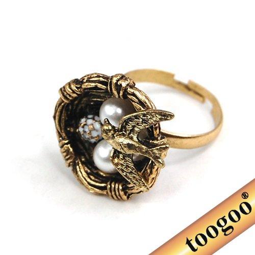 TOOGOO(R) Vintage Sparrow Bird Nest Egg Adjustable Pearl Ring Retro