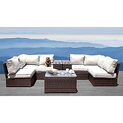 Amazon Com 9 Piece Patio Furniture Set Lucca Collection Wicker