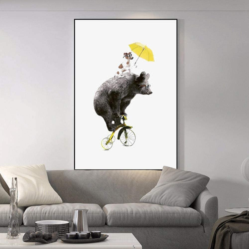 Cartoon Bear and Dog on Bicycle Canvas Poster and Wall Art Picture Print Modern Paintings for Family Living Room Decor (24x32,Unframed)