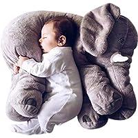 Beewies Almohada Para Bebe de Elefante Muy Suave, Blando y Flexible de 65cm Para Usarse Como Juguetes Para Bebes Niño, Juguetes Para Niñas y Mesa de Regalos bebé. Elefante Para Bebe 100% de Algodón Natural, Hecho en México