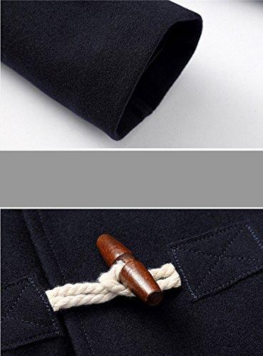 BININBOX® Herren Wolljacke kurzer Wollmantel mit Kapuze Horn-Knopf  Winterjacke Slim Fit Gefüttert in Schwarz Dunkelblau  Amazon.de  Bekleidung 33667b8d2f