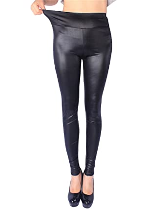 390cd1148baae SaiDeng Damen Stretch Leggins Matt Lange Leggings Hohe Taille Latex ...