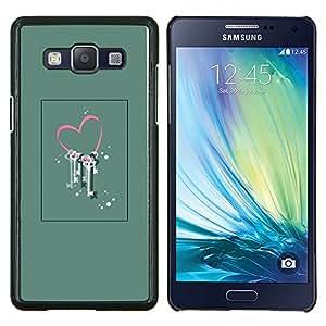 El amor de San Valentín Arte floral Locked- Metal de aluminio y de plástico duro Caja del teléfono - Negro - Samsung Galaxy A5 / SM-A500