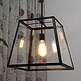 Ladiqi Industrial Vinatge Pendant Light Metal Lantern Ceiling Edison Hanging Light Fixture