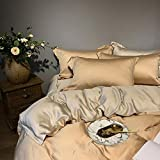 Duvet Cover Set Four-piece Bedding Set - Tencel Four-piece Suit, Solid Color Double-sided European Minimalist Bedding, European And American Style Ice Silk Double Bed Single Quilt Cover - For 1.5 M /