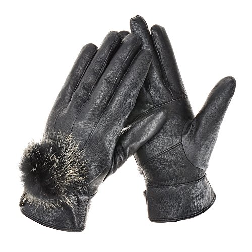 ZLYC Winter Warm Genuine Nappa Leather Gloves With Rabbit Fur Ball Fleece Lined