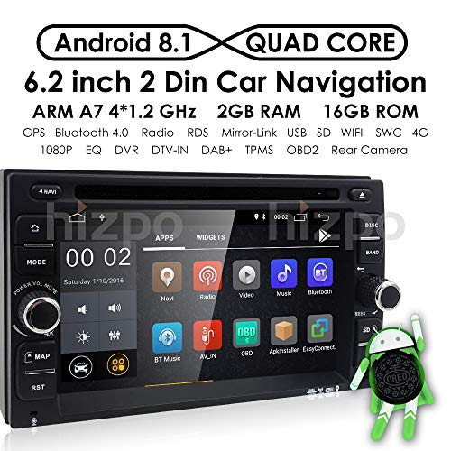 Android 8.1 Car Stereo, Quad Core 16GB+ 2GB Double Din Car DVD CD Player with Bluetooth GPS Navigation 6.2 inch Touch Screen - Support WiFi, MirrorLink, Backup Camera, AUX Input, USB SD, Dash Cam