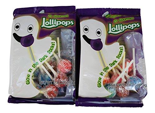 Original Gourmet Lollipops with Glow in the Dark Sticks - 2 Pack