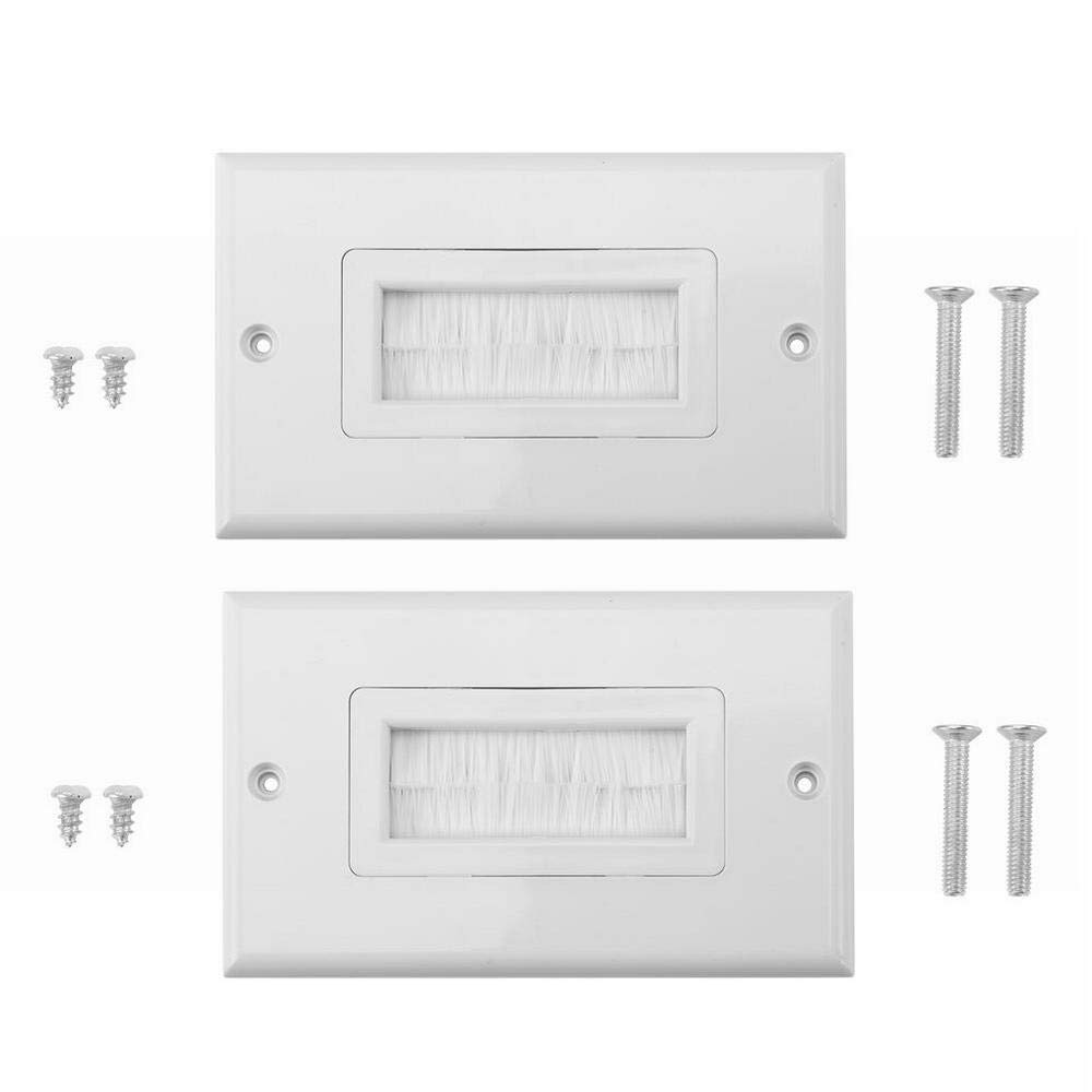 2Pcs Brush Wall Plate, Single Gang Bristles Brush Plastic Anti-dust Brushplate Cable Wall Plate Port Insert Cover Outlet Mount Multimedia Panel Yosooo