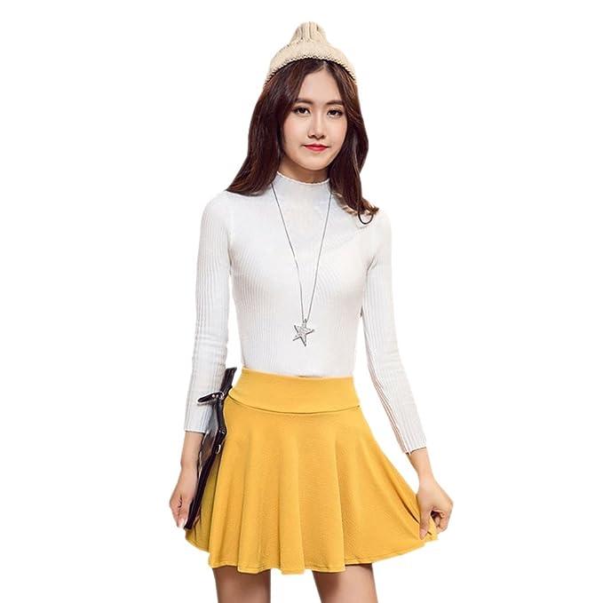 0cab5b3154 BOZEVON Falda Plisada de Cintura Elástica Color Sólido Más el Tamaño Falda  Corta para Mujer  Amazon.es  Ropa y accesorios