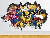 "X-Men Animated Wall Decal Smashed 3D Sticker Vinyl Decor Mural Kids - Broken Wall - 3D Designs - AH55 (Small (Wide 22"" x 12"" Height))"