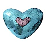 TRLYC Rose Pink and Turquoise 13x15'' (32x37cm)Love Heart Shaped Sequins Pillow Case Waist Throw Cushion Cover Home Sofa Decor with Insert