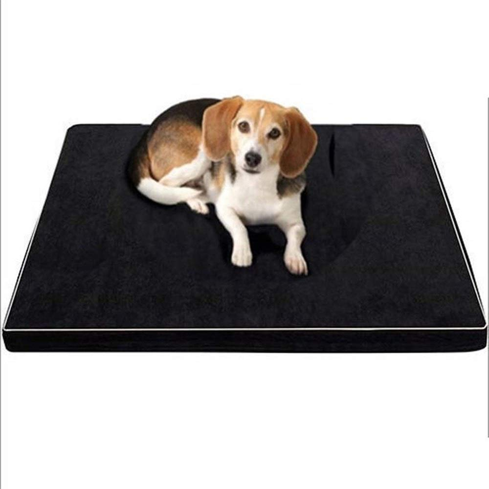 Black 97x76x5cm Black 97x76x5cm ZXH77f Dog Bed Fully Removable Memory Foam Dog Pad Pet Mat Slow Rebound Kennel Crate For Medium And Large Dogs Black (color   Black, Size   97x76x5cm)