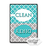 Dishwasher Magnet Clean Dirty Sign for Dishes - Elegant Quatrefoil Moroccan Trellis Modern Pattern - AQUA BLUE - 2.5 x 3.5 - Housewarming and Gag Gift Idea / Stocking Stuffers for Men Women & Teens