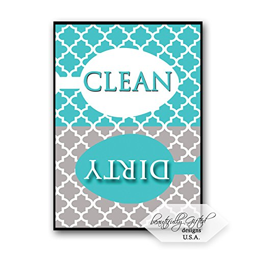 Clean Dirty Dishwasher Magnet Sign Best for Dishes - Cute Elegant Quatrefoil Moroccan Trellis Modern Pattern - AQUA BLUE / GREY - 3.5 x 2.5 - Housewarming, Bridal Registry & Gag Gift Stuffers Idea
