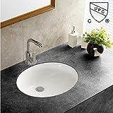 WinZo WZ7402 Oval Undercounter Bathroom Ceramic Sink ,White Porcelain Ceramic Vessel Art Basin