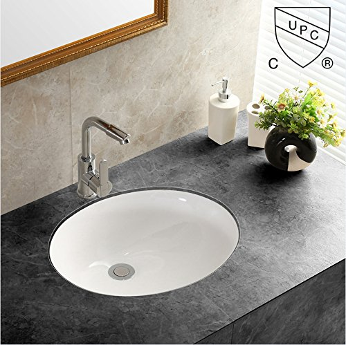 Oval Porcelain Sink (WinZo WZ7402 Oval Undercounter Bathroom Ceramic Sink ,White Porcelain Ceramic Vessel Art Basin)