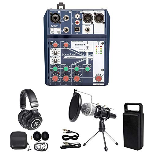 Gaming Twitch Stream Bundle w/Soundcraft Mixer+Headphones+Mic+Stand