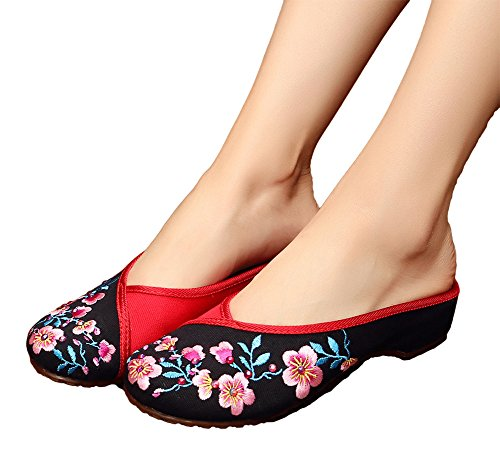 AvaCostume Womens Peach Blossom Embroidery Hot Drilling Flats Slipper Shoes Black