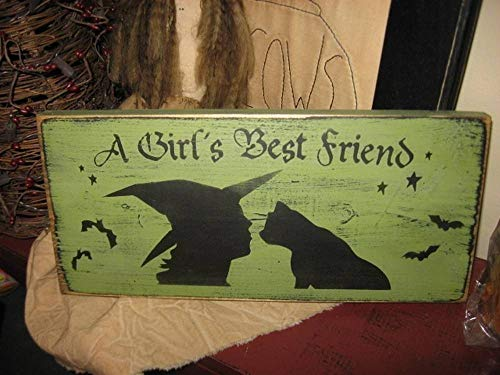 Adonis554Dan A Girls Best Friend Witch Black Cat Primitive Wicca HandPrinted Wood Sign Shelf Sitter Plaque Wall Hanging Halloween Fall Home Decor Kitten