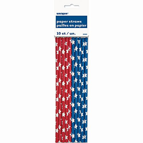 Blue Stars Patriotic Paper Straws