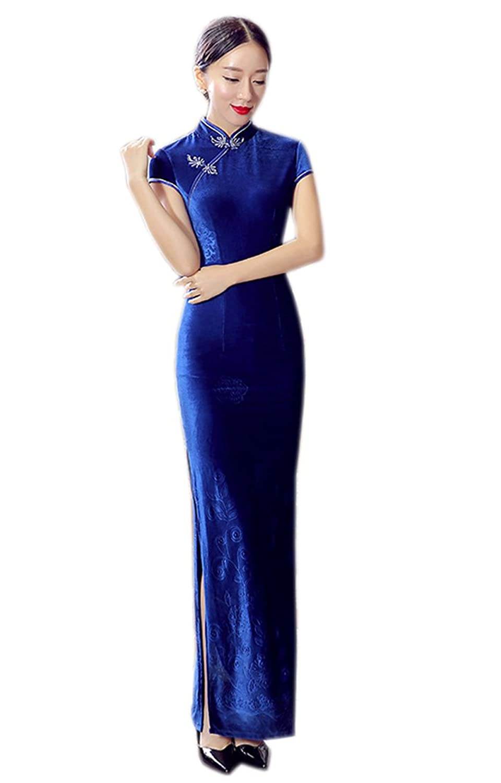 YL Women's Extra Long Velvet Brocade Dress Chinese Style Slim-cut Cheongsam 2 Colors