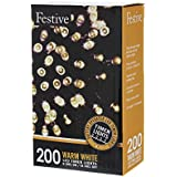 Festive Christmas String Lights, Battery Operated Timer LED, Warm White, 200 bulbs
