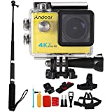 Andoer 2.0 LCD 4K WiFi Ultra HD Action Sports Camera 16MP 25FPS 1080P 60FPS 4X Zoom 25mm 173 Degree with 8in1 Action Camera Accessories and Aluminum Alloy Selfie Stick