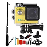 Cheap Andoer 2.0″ LCD 4K WiFi Ultra HD Action Sports Camera 16MP 25FPS 1080P 60FPS 4X Zoom 25mm 173 Degree with 8in1 Action Camera Accessories and Aluminum Alloy Selfie Stick
