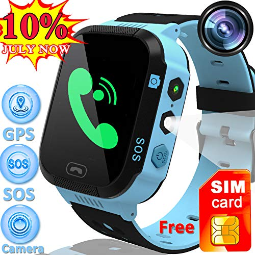 "[Speed Talk SIM Card] Included 1.44"" Kids Smart Watch GPS Tracker Boys Girls Touch Screen Phone Smartwatch SOS Call Anti-Lost Camera Sport Wristwatch Flashlight Learning Game Watch Back to School Gift"