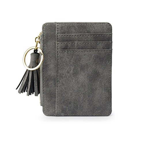 LBgrandspec Faux Leather Mini Tassel Pendant Women Card Holder Coin Purse Keychain Wallet for Credit Card Business Card Passport Driver's License Grey