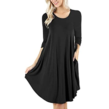 0c3cabb0e6e Snowfoller Women T-shirt Tunic Dress Autumn O-Neck Casual Autumn Long  Sleeve Mini