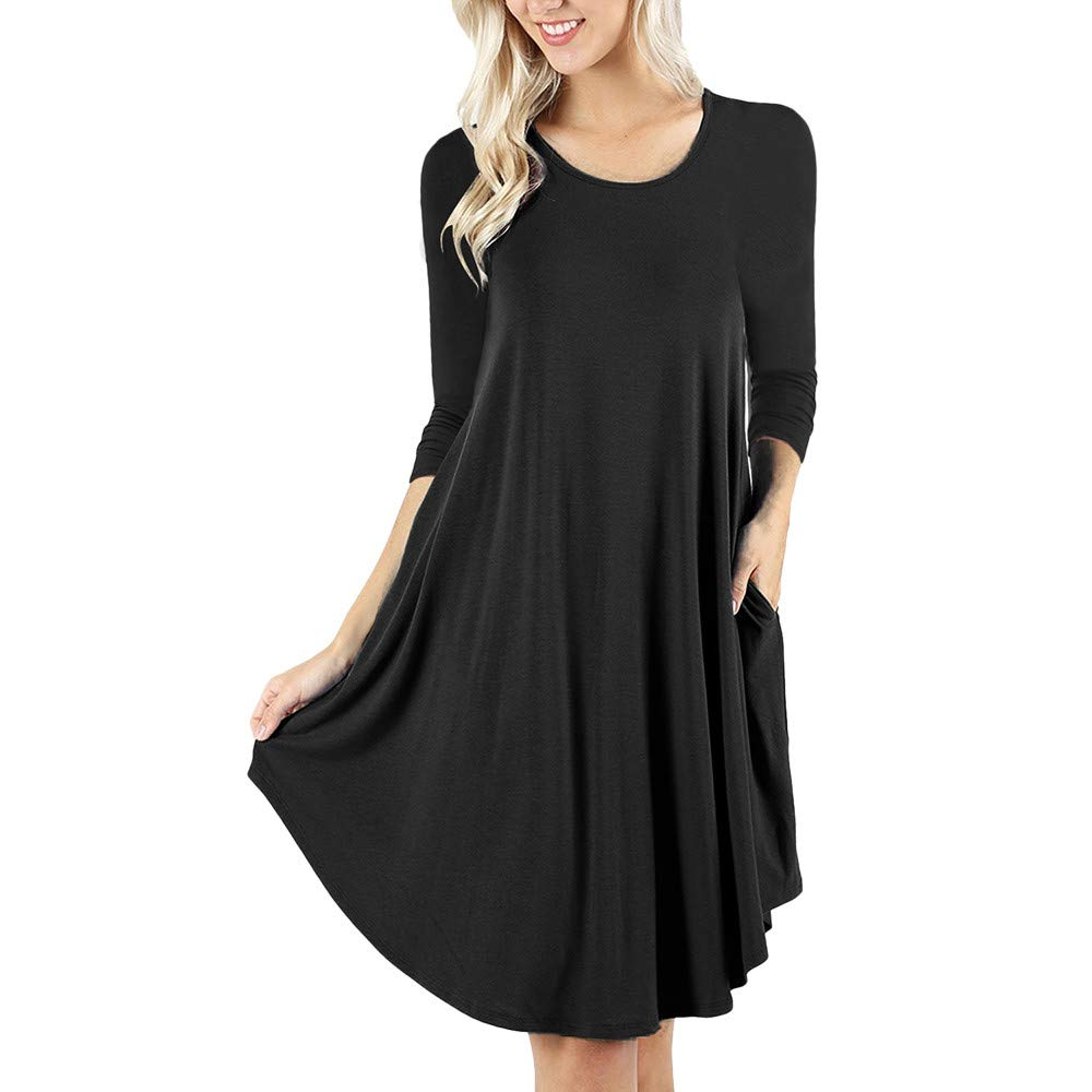 Amazon.com: POTO Dresses,Women Casual Long Sleeve Solid Mini Dress with Pockets,Loose Ladies Evening Party Dress Beach Dress(S-XXL): Clothing