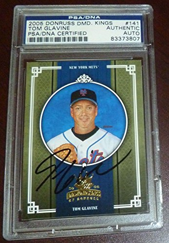 (Autographed Tom Glavine Ball - 2005 Donruss Diamond Kings Card COA 141 - PSA/DNA Certified - Autographed Baseball Cards)