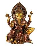 AapnoCraft 1 Ft Ganesh Statue - Brass Ganesha Idols Ganpati Sitting On Mouse Sculpture Polished Lucky Gifts & Worship Decor