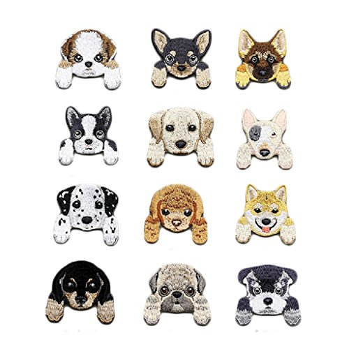 Yalulu 12 Pcs Puppy Dogs Pattern Embroidered Iron On/Sew On Badge Applique Patch for - Applique Dog Patterns