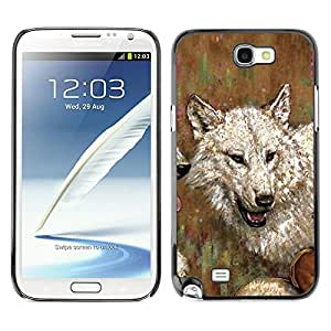 QCASE / Samsung Note 2 N7100 / lobo arte dibujo pintura blanco gris de la acuarela del aceite / Delgado Negro Plástico caso cubierta Shell Armor Funda Case Cover