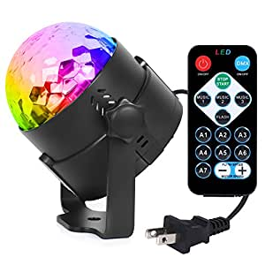 Syntus Party Lights 2.5m Power Cord Disco Ball 7 Colors LED Strobe Lights Sound Activated DJ lights with Remote Control UL Listed Plug, Best for Festival, Celebration, Christmas Party, Bar, Gift