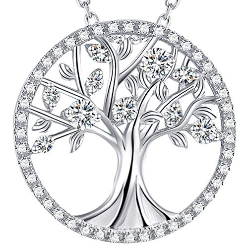 Elda&Co Jewelry Gifts Tree of Life Sterling Silver Simulated Diamond Jewelry for Women Birthday Gifts for Mom Wife Girs Love Family for - Love Pendant Life Diamond