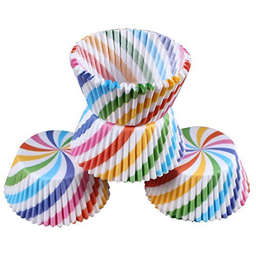 LetGoShop Baking Cups- Disposable Cupcake Liners Muffin Paper Cups Pack of 100 (Rainbow)]()