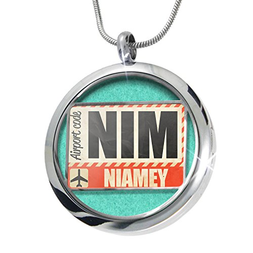 NEONBLOND Airportcode NIM Niamey Aromatherapy Essential Oil Diffuser Necklace Locket Pendant Jewelry Set
