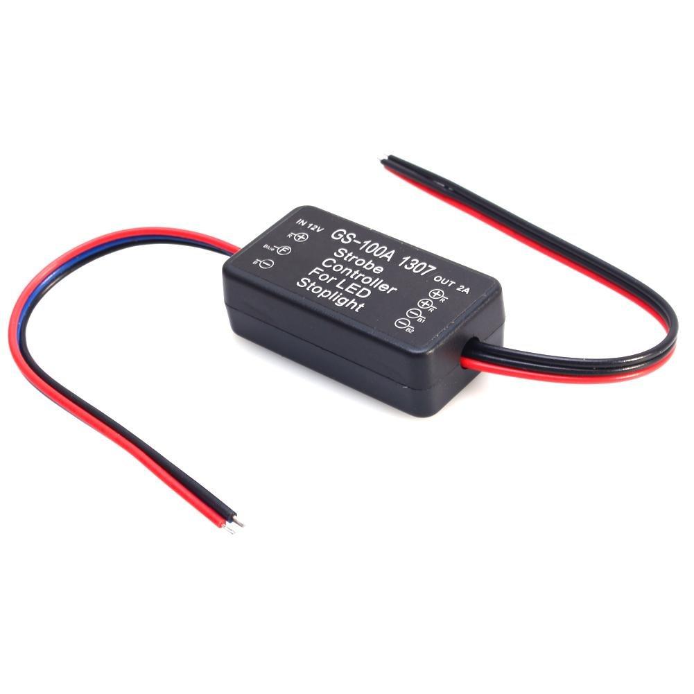 Feux de Freinage Lumi/ère Keenso Stroboscope Controleur Module Clignoteur de 12V pour le Projecteur de LED Pour Lampe de Lumi/ère dArr/êt de Frein Conduit GS-100A 1307